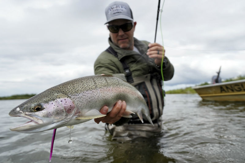 John Perry with a Rainbow Trout