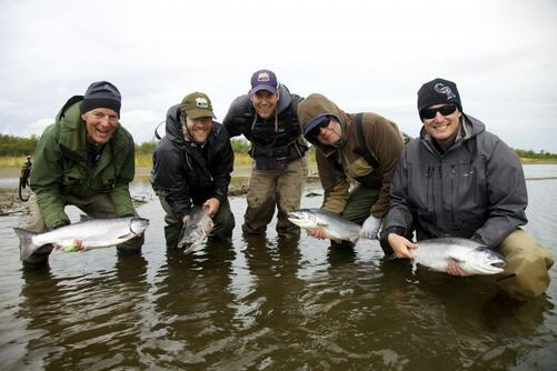 My family enjoying some fantastic silver salmon fly fishing on the Alagnak River